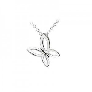 12-14 Inches Silver Slide Butterfly Pendant Kids Necklace For Girls
