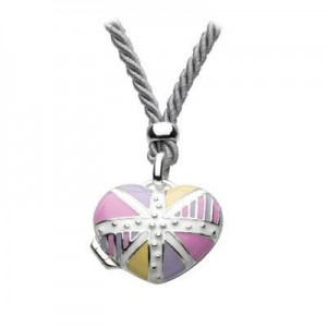 Silver Union Jack Heart Locket Girls Necklace For Children And Teens