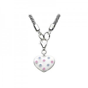 19 Inches Silver Cord White Polka Dot Heart Charm Children's Necklace