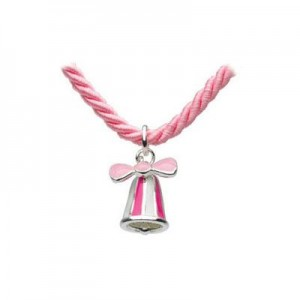 Children's Jewelry - Silver Pink Bow Bell Pink Cord Necklace (12 or 14 in)