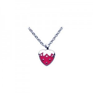 12-14 Inch Silver Rose Pink Enameled Strawberry Pendant Kids Necklace