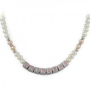 Children's Jewelry - Silver Cultured Pearl Princess Beads Necklace For Girls