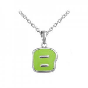 Girls Jewelry - Silver Color Enamel Initial B Pendant Necklace (12-18 in)