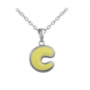 Girls Jewelry - Silver Color Enamel Initial C Pendant Necklace (12-18 in)