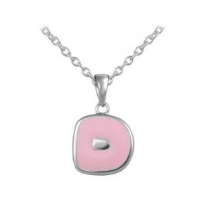 Girls Jewelry - Silver Color Enamel Initial D Pendant Necklace (12-18 in)