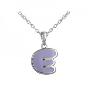 Girls Jewelry - Silver Color Enamel Initial E Pendant Necklace (12-18 in)