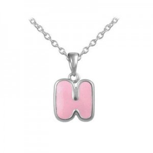 Girls Jewelry - Silver Color Enamel Initial H Pendant Necklace (12-18 in)