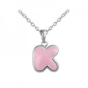 Girls Jewelry - Silver Color Enamel Initial K Pendant Necklace (12-18 in)