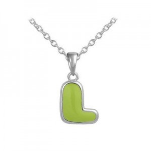 Girls Jewelry - Silver Color Enamel Initial L Pendant Necklace (12-18 in)