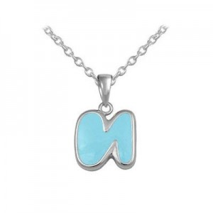 Girls Jewelry - Silver Color Enamel Initial N Pendant Necklace (12-18 in)