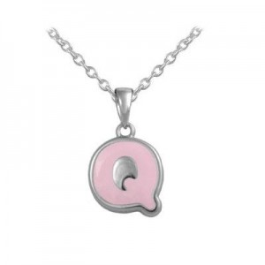 Girls Jewelry - Silver Color Enamel Initial Q Pendant Necklace (12-18 in)