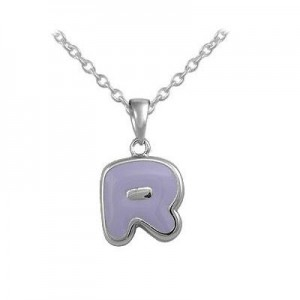 Girls Jewelry - Silver Color Enamel Initial R Pendant Necklace (12-18 in)