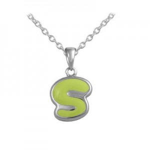 Girls Jewelry - Silver Color Enamel Initial S Pendant Necklace (12-18 in)