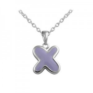 Girls Jewelry - Silver Color Enamel Initial X Pendant Necklace (12-18 in)