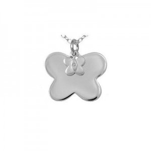 Silver Diamond Double Butterfly Pendants Girls Necklace (14 to 16 in)