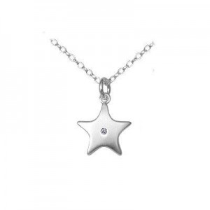 14 to 16 In Silver Diamond Star Pendant Children's Necklace For Girls