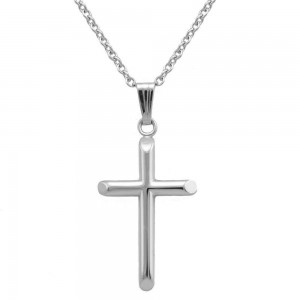 Children And Teens Jewelry - 15 Inches Sterling Silver Cross Necklace