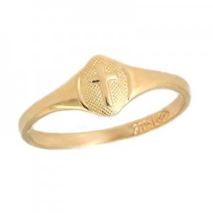 Size 2 1/2 Children's 14K Yellow Gold Cross Ring For Boys And Girls
