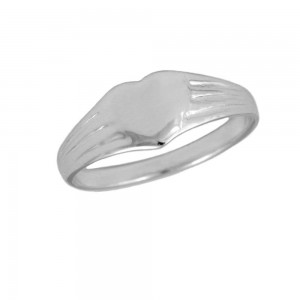 Kids & Teens Jewelry - Sterling Silver Heart Signet Ring For Girls (6 Sizes)
