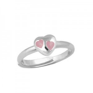 Children & Teens Silver Pink Heart Adjustable Ring For Girls (Size 3-7)