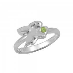 Silver August Birthstone Girls Angel Ring Adjustable Size 3 To 7
