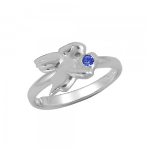 Silver September Birthstone Girls Angel Ring Adjustable Size 3 To 7