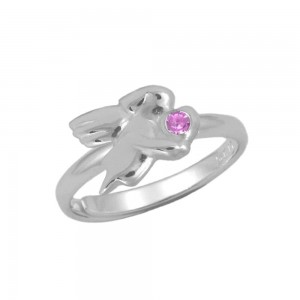 Silver October Birthstone Girls Angel Ring Adjustable Size 3 To 7