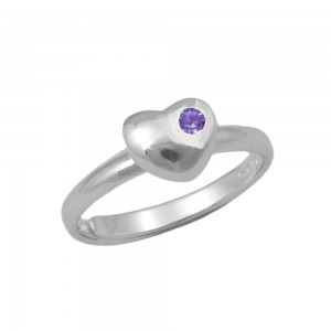 Girls Sterling Silver February Birthstone Heart Ring Adjustable Size 3 To 7