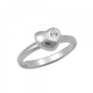 Girls Sterling Silver April Birthstone Heart Ring Adjustable Size 3 To 7