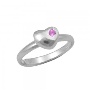 Girls Sterling Silver October Birthstone Heart Ring Adjustable Size 3 To 7