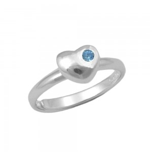 Girls Sterling Silver December Birthstone Heart Ring Adjustable Size 3 To 7