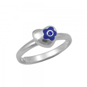 Sterling Silver Flower Heart September Birthstone Girls Ring Size 3-7