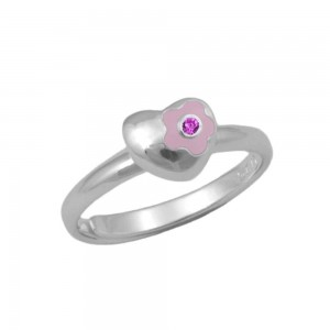 Sterling Silver Flower Heart October Birthstone Girls Ring Size 3-7