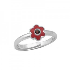 Girl Sterling Silver January Birthstone Flower Ring Adjustable Size 3-7