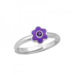 Girl Sterling Silver February Birthstone Flower Ring Adjustable Size 3-7