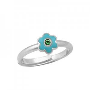 Girl Sterling Silver May Birthstone Flower Ring Adjustable Size 3-7
