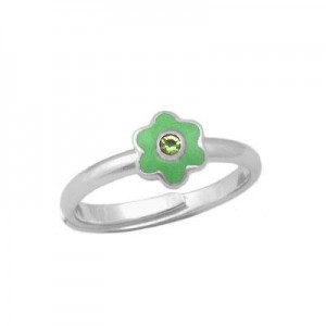 Girl Sterling Silver August Birthstone Flower Ring Adjustable Size 3-7