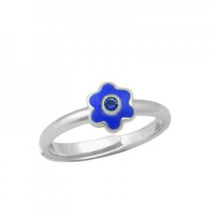 Girl Sterling Silver September Birthstone Flower Ring Adjustable Size 3-7