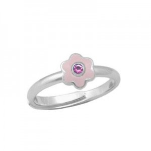 Girl Sterling Silver October Birthstone Flower Ring Adjustable Size 3-7