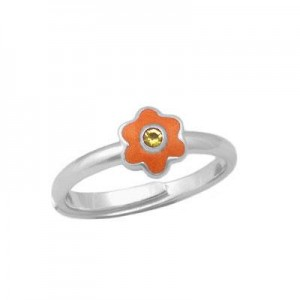 Girl Sterling Silver November Birthstone Flower Ring Adjustable Size 3-7