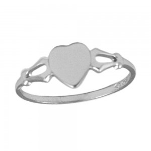 Children's Jewelry - Sterling Silver Heart Signet Ring For Girls (Size 4)