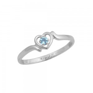 4 1/2 Girls 14K White Gold Genuine Aquamarine March Birthstone Ring