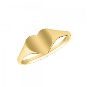 Children's Jewelry - 10K Yellow Gold Heart Signet Ring Size 4 1/2