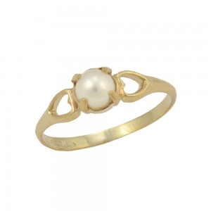 Girls Jewelry - 10K Yellow Gold Size 4 Cultured Pearl Ring For Children