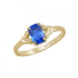 Girls Jewelry - 10K Yellow Gold September Birthstone Ring (size 4)