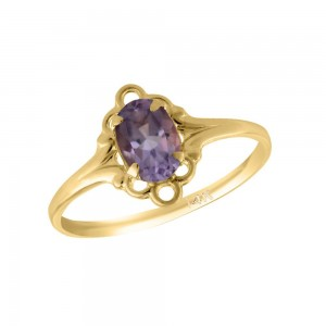 Girl 14K Yellow Gold Oval Shape February Birthstone Genuine Amethyst Ring (size 5 1/2)