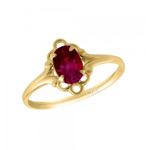 Girl 14K Yellow Gold Oval Shape July Birthstone Genuine Ruby Ring (size 5 1/2)