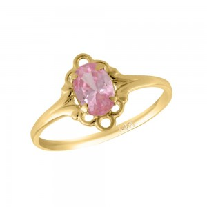 Girl 14K Yellow Gold Oval Shape October Birthstone Genuine Tourmaline Ring (size 5 1/2)