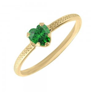 10K Yellow Gold May Birthstone Ring For Toddlers And Children (size 3 1/2)