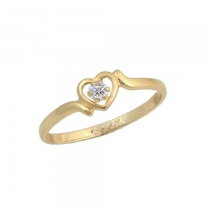 Size 3 1/2 Children's 14K Yellow Gold Diamond Heart Ring For Girls